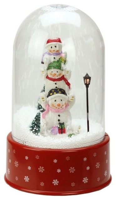 Snowing Christmas Tree.11 75 Lighted Musical Stacked Snowmen Snowing Christmas Snow Dome