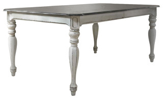 Liberty Magnolia Manor Leg Dining Table With 1 Leaf, Antique White
