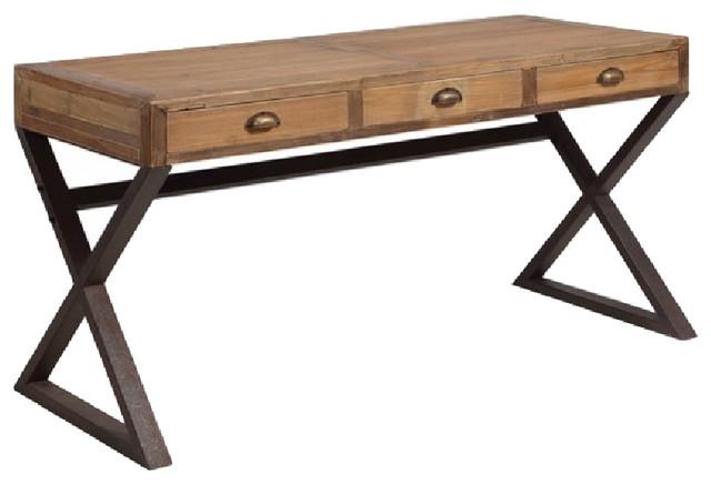 x base desk industrial imperfect look rustic desks and hutches rh houzz com x base glass desk kenton x base desk