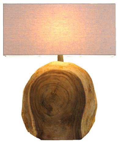 natural arbor block lamp - Rustic Table Lamps