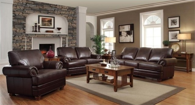 brown living room furniture sets. Coaster Colton 3 Piece Leather Sofa Set  Brown traditional living room Traditional