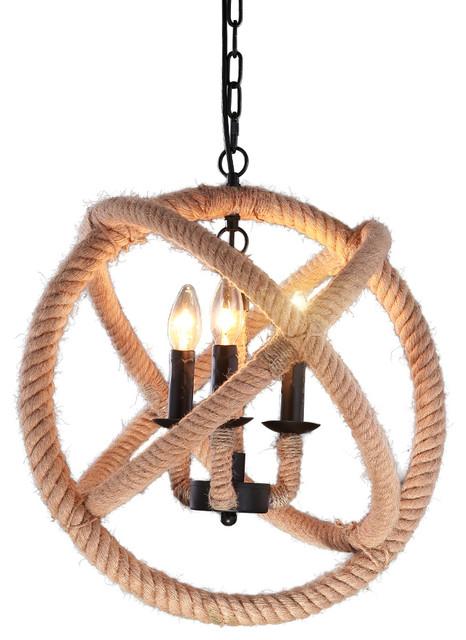 retro style 3 light metal hemp rope chandelier tropical pendant