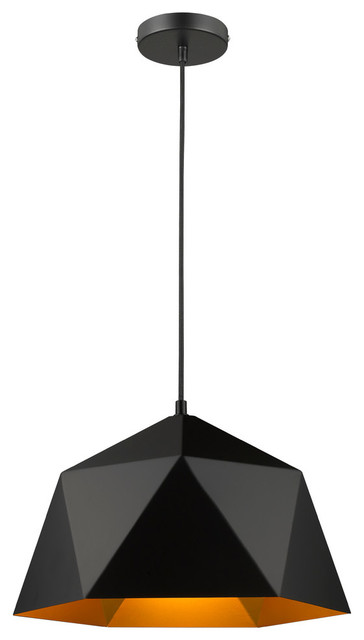 Black Shade, Gold Interior Single Pendant Light.