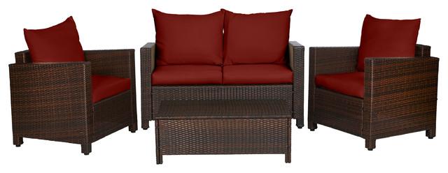 Marvelous Azura Woven Rattan Indoor Outdoor Set Terracotta Red 4 Piece Set Short Links Chair Design For Home Short Linksinfo