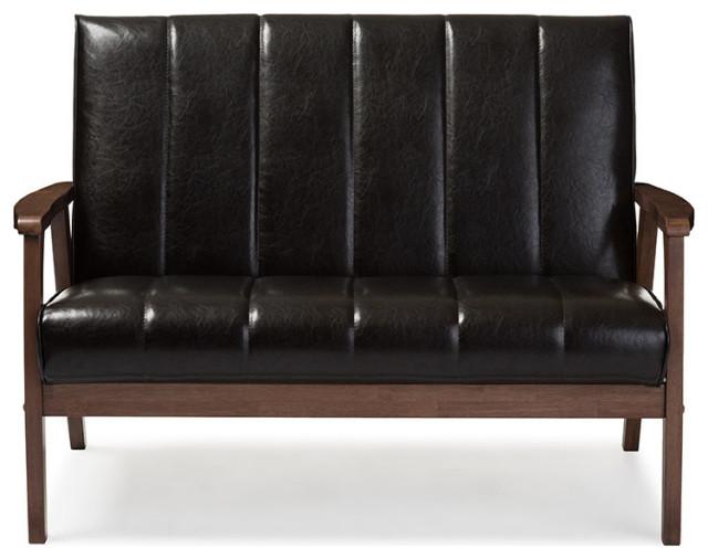 Nikko Mid-Century Scandinavian Style Black Faux Leather Wooden 2-Seater Loveseat