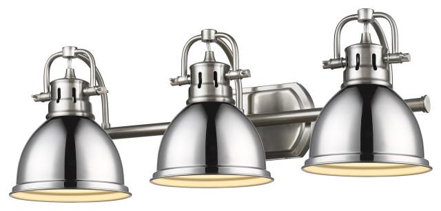 """Golden Lighting 3602-BA3 Duncan 3 Light 25"""" Bathroom Vanity Light, Pewter/Chrome"""