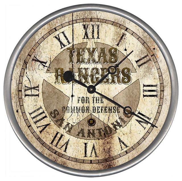 Texas Rangers Round Vintage Clock Southwestern Wall