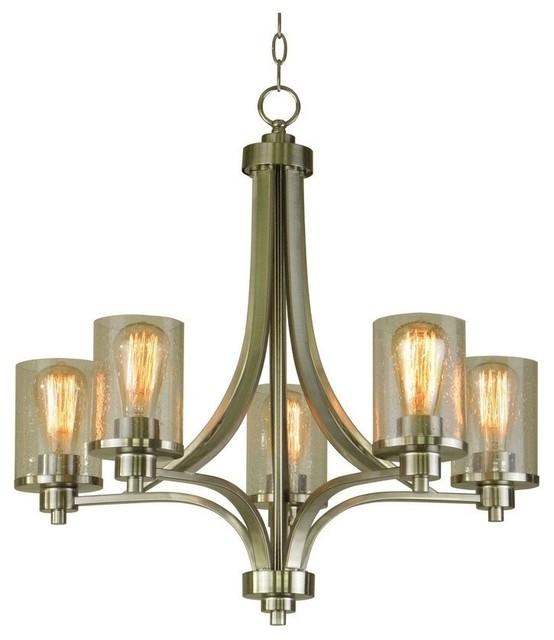 Iris 5-Light Chandelier, Satin Steel, Seeded Glass