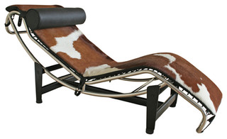 le corbusier style lc4 chaise blackwhite cowhide indoor chaise lounge chairs by old bones co