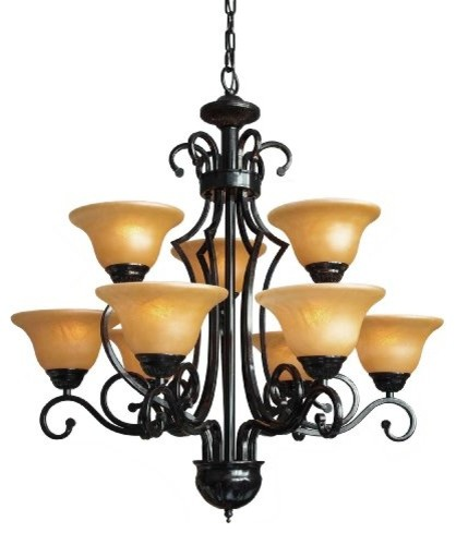 Wrought Iron Chandelier With 9Lights Traditional Chandeliers – Rot Iron Chandeliers