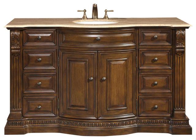 "60"" Traditional Single Sink Bathroom Vanity, Travertine ..."