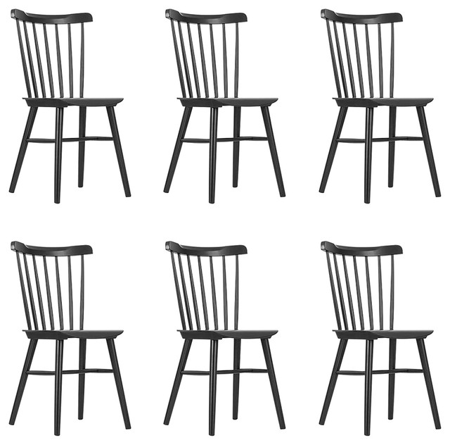 Wood Kitchen Dining Chair, Black, Set of 6