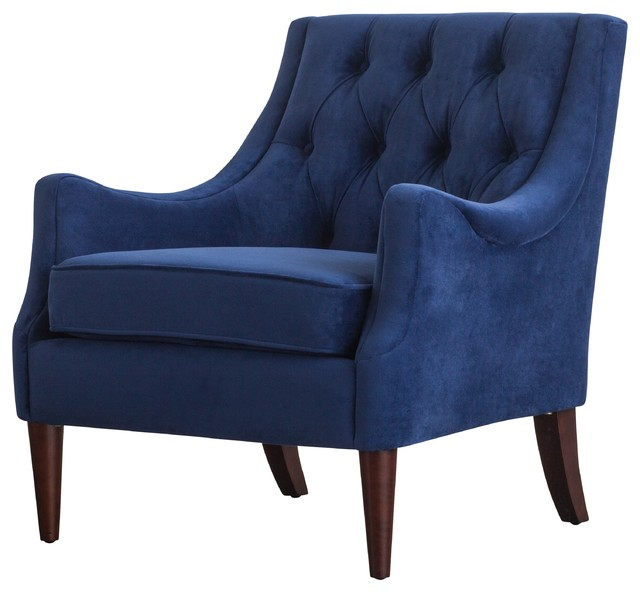 Marvelous Marlene Velvet Fabric Tufted Accent Chair Navy Blue Caraccident5 Cool Chair Designs And Ideas Caraccident5Info