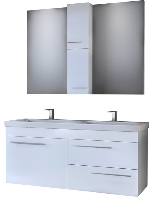 Dp Wall Bath Vanity Cabinet Set 47 2 Double Sink White Gloss Lacquer Finish