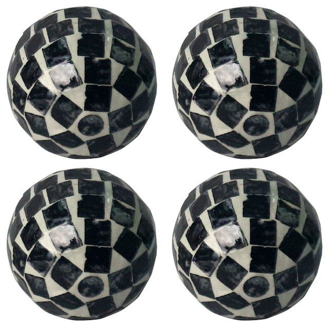 "D3"" Decorative Balls, Black and White, Set Of 4"