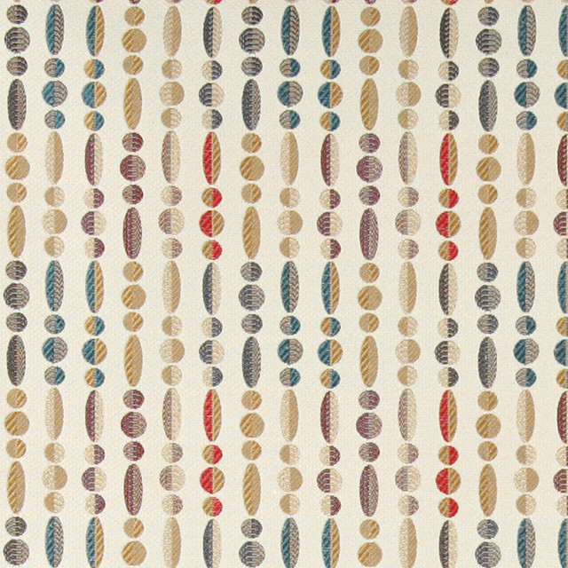Red Blue Gold Grey, Geometric Striped Contemporary Upholstery Fabric By The Yard