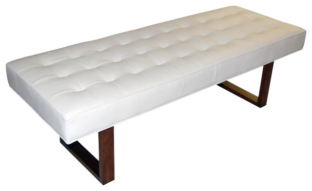 Retro Modern Genuine Leather Bench Ottoman White 60
