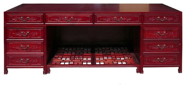 asian office furniture. Red Chinese Rosewood Full Size Flower Bird Carving Drawers Office Desk Asian Office Furniture T