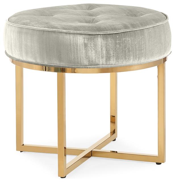 TOV Furniture Layla Velvet Ottoman, Gray