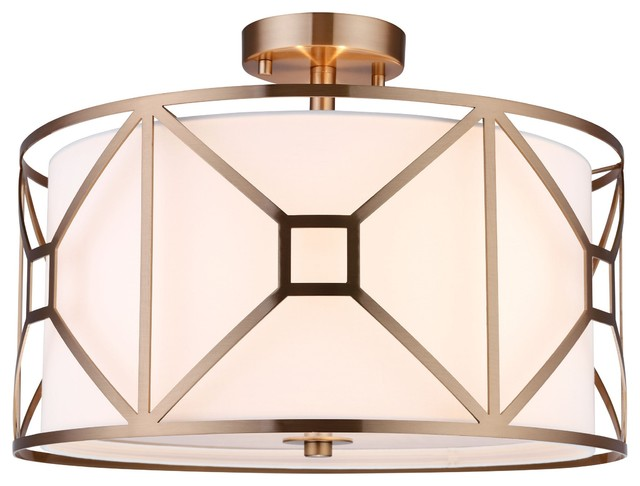 Regan 3-Light Semi-Flush, Vintage Brass, 17""