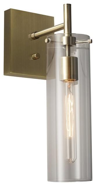 Dalton Anique Brass Plug-in Wall Lamp, Clear