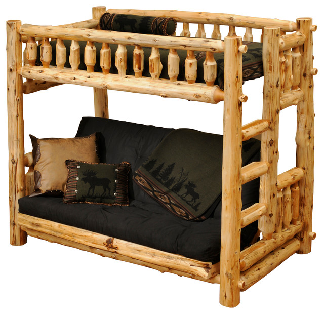Cedar Futon Single Ladder Left Log Bunk Bed Vintage