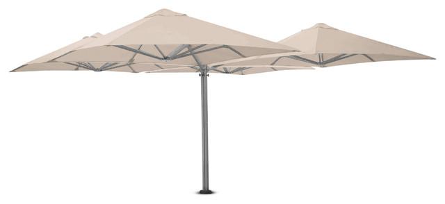 9&x27;10 Square Quattro White Sand Umbrella, Ground Anchor.
