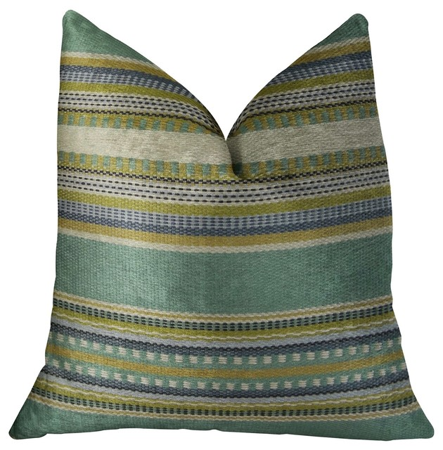 South Shore Jungle Light Blue Green And Cream Handmade Luxury Pillow.