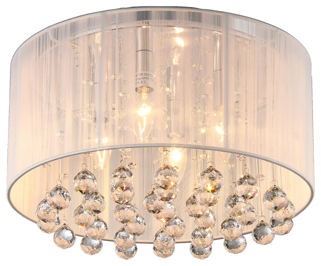 Afaura 4-Light Crystal Flush Mount With Drum Shade, White.