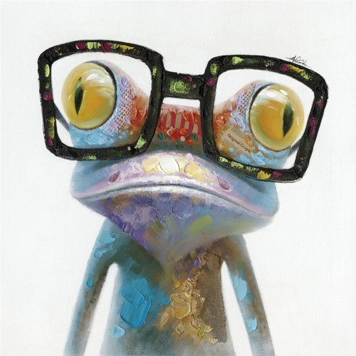 Hipster Froggy Ii Original Acrylic Painting On Canvas, 20x20.