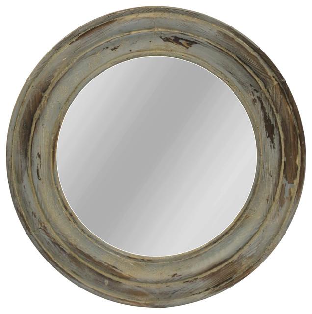 Distressed Round Fir Wood Mirror, Antique Blue Finish.