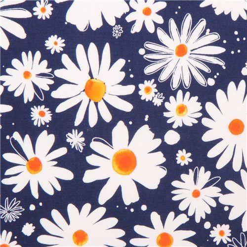 dark blue daisy flower fabric Robert Kaufman Petal