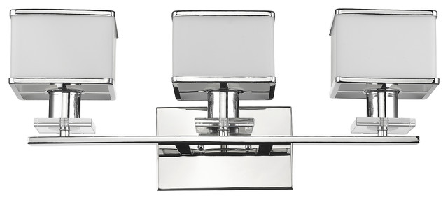 Contemporary Bathroom Vanity Lights trilluminate vanity fixture, chrome and white - contemporary