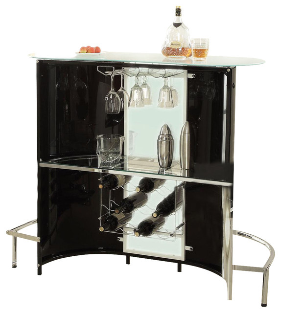 Modern Black White Frosted Glass Top Bar Pub Table Unit With Wine Stemware  Rack Contemporary