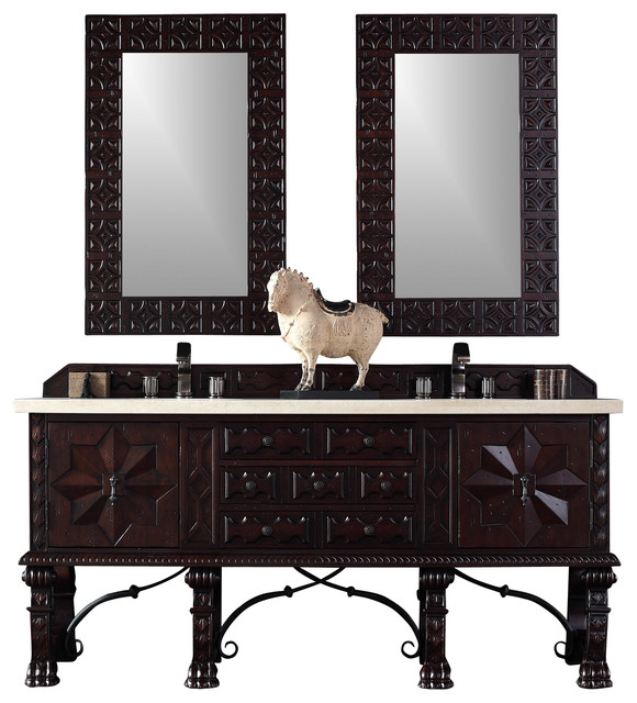 Balmoral 72 Double Vanity Cabinet In Antique Walnut (sink Not Included).