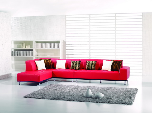 Red Leather Sectional Sofa Couch Chaise Chair Set Modern