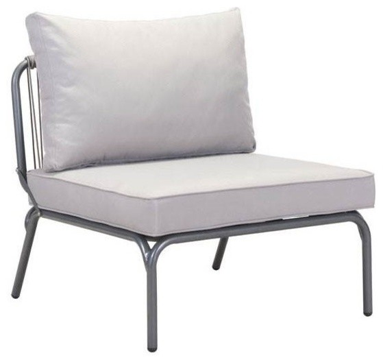 Pier armless single chair gray finish industrial for Grey single chair
