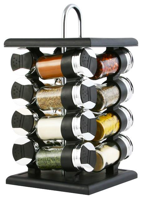 Elegant 16 Jar Spice Rack, Black And Chrome Modern Spice Jars And
