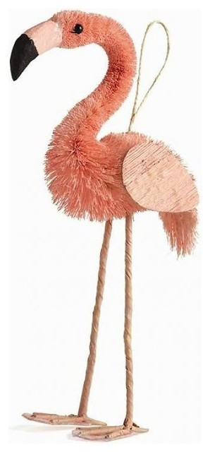 pink flamingo ornament bottle brush style - Flamingo Christmas Decorations