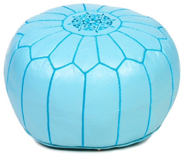 Moroccan Leather Pouf Ottoman - Mediterranean - Floor Pillows And Poufs - by Moroccan Buzz Imports