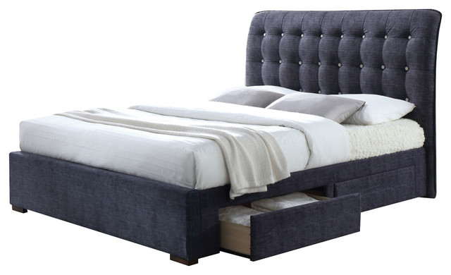 Drorit Bed With Storage, Dark Gray, Queen.