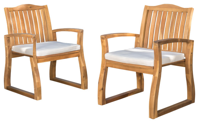 Tampa Teak Finish Acacia Wood Outdoors Dining Chairs, Set Of 2