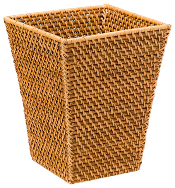 Square waste basket in rattan honey brown tropical wastebaskets other by kouboo - Wicker garbage basket ...