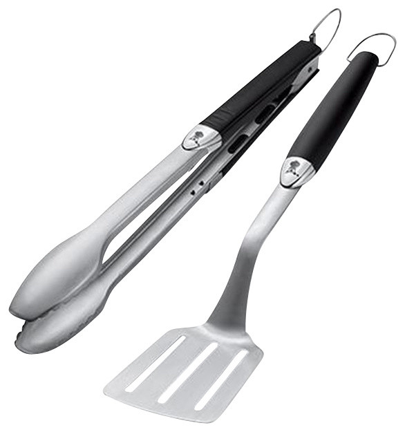Weber stainless steel two piece barbecue tool set modern