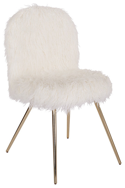 Julia Chair With White Fur And Gold Legs.