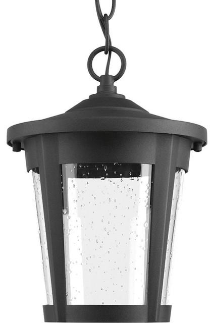 Progress East Haven 1-Light Led Hanging Lantern, Black, Clear Seeded.