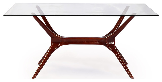 Kardiel   Sputnik Midcentury Modern Dining Table, Walnut Legs And Glass Top    Dining Tables