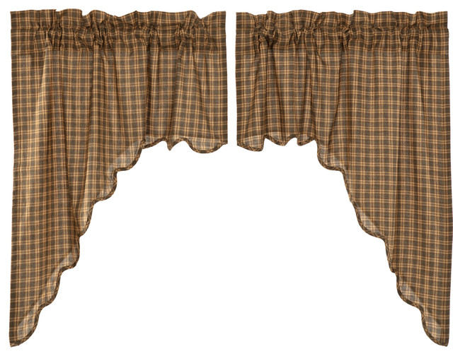 Green Rustic Kitchen Curtains Ridgeline Swag Rod Pocket Cotton Plaid, Set  of 2