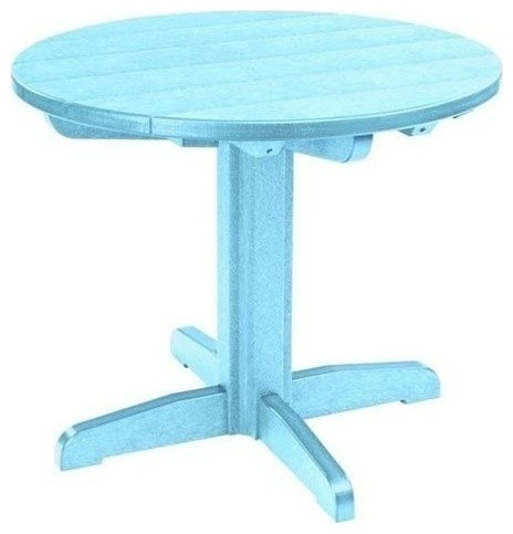 CR Plastic Generations 32 Round Patio Dining Table Aqua Outdoor Dini