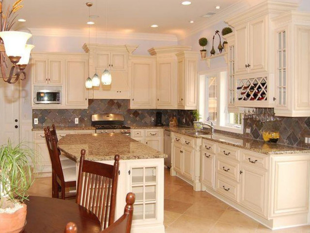 Antique white kitchen cabinets home design traditional Kitchen cabinets 75 off